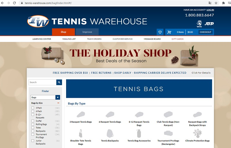 trang web tennis warehouse