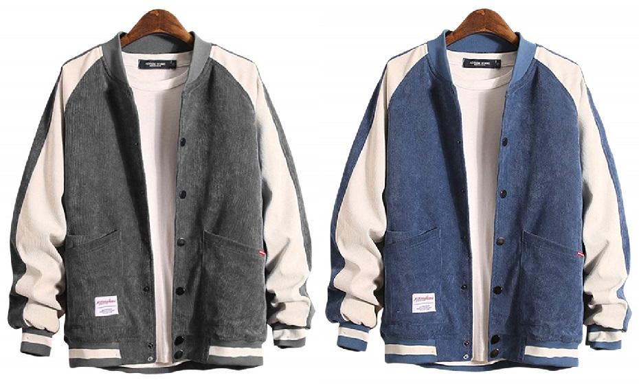 Gosfang Men's Blouson Jersey Long Sleeve Bi-Color Casual Stylish Sporty Autumn Winter M - XL