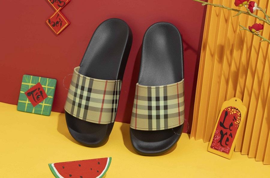 Dép quai ngang Burberry Vintage Check Slides