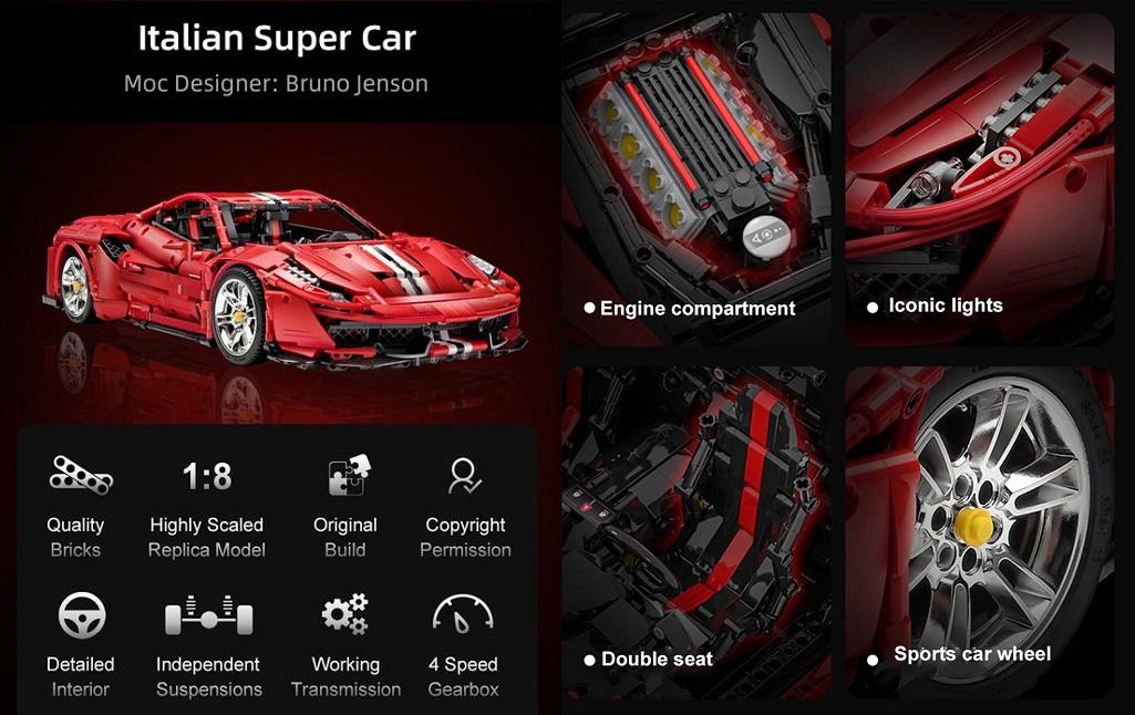động cơ xe mô hình Ferrari 488 Pista
