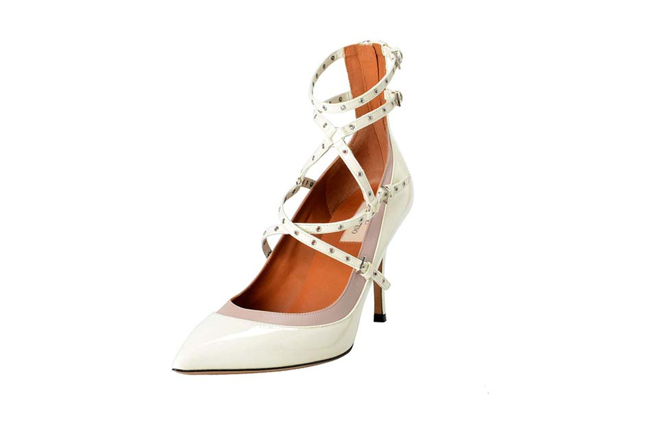 Valentino Women's Leather White Ankle Strap Pumps Shoes