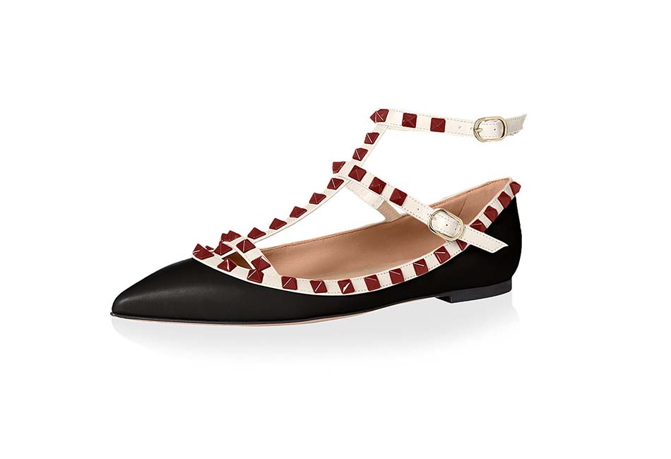 Valentino Women's Rockstud Ankle-Strap Flat