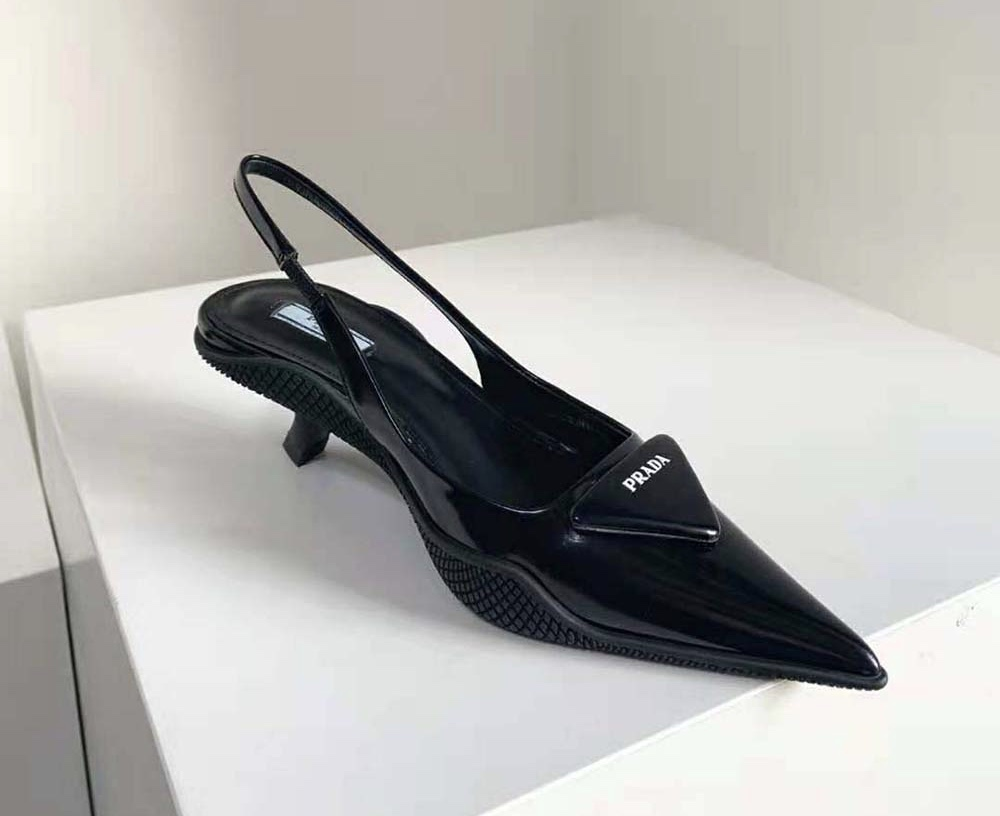 Prada Brushed Leather Slingback Pumps Black