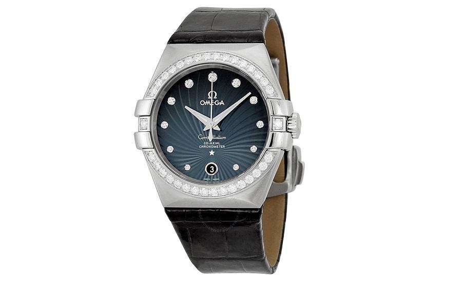 Omega Constellation Blue Diamond Dial Black Leather Mens